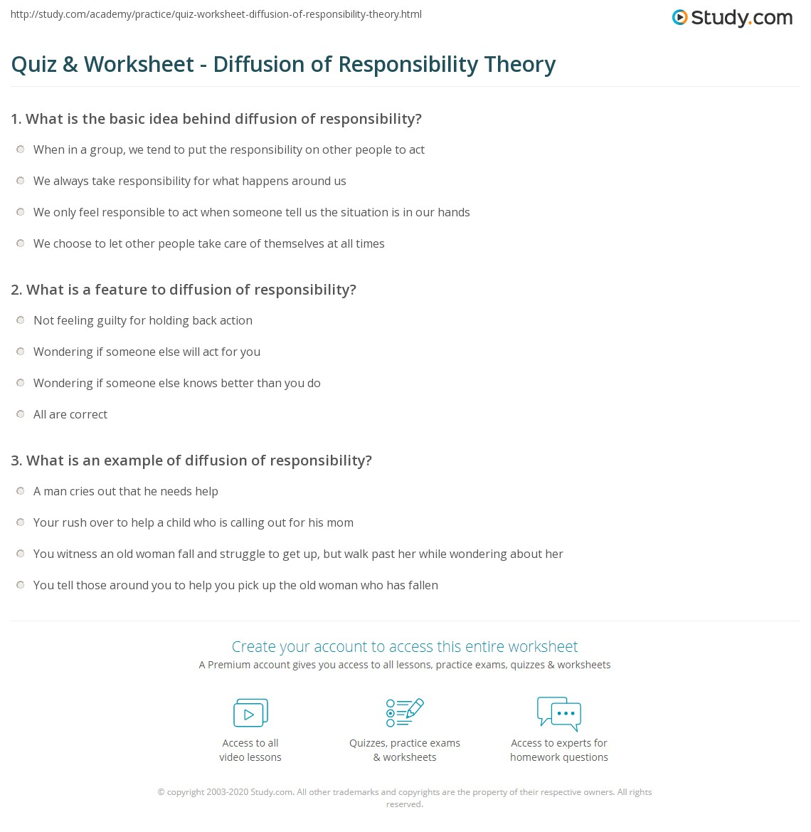 Quiz Worksheet Diffusion Of Responsibility Theory Study
