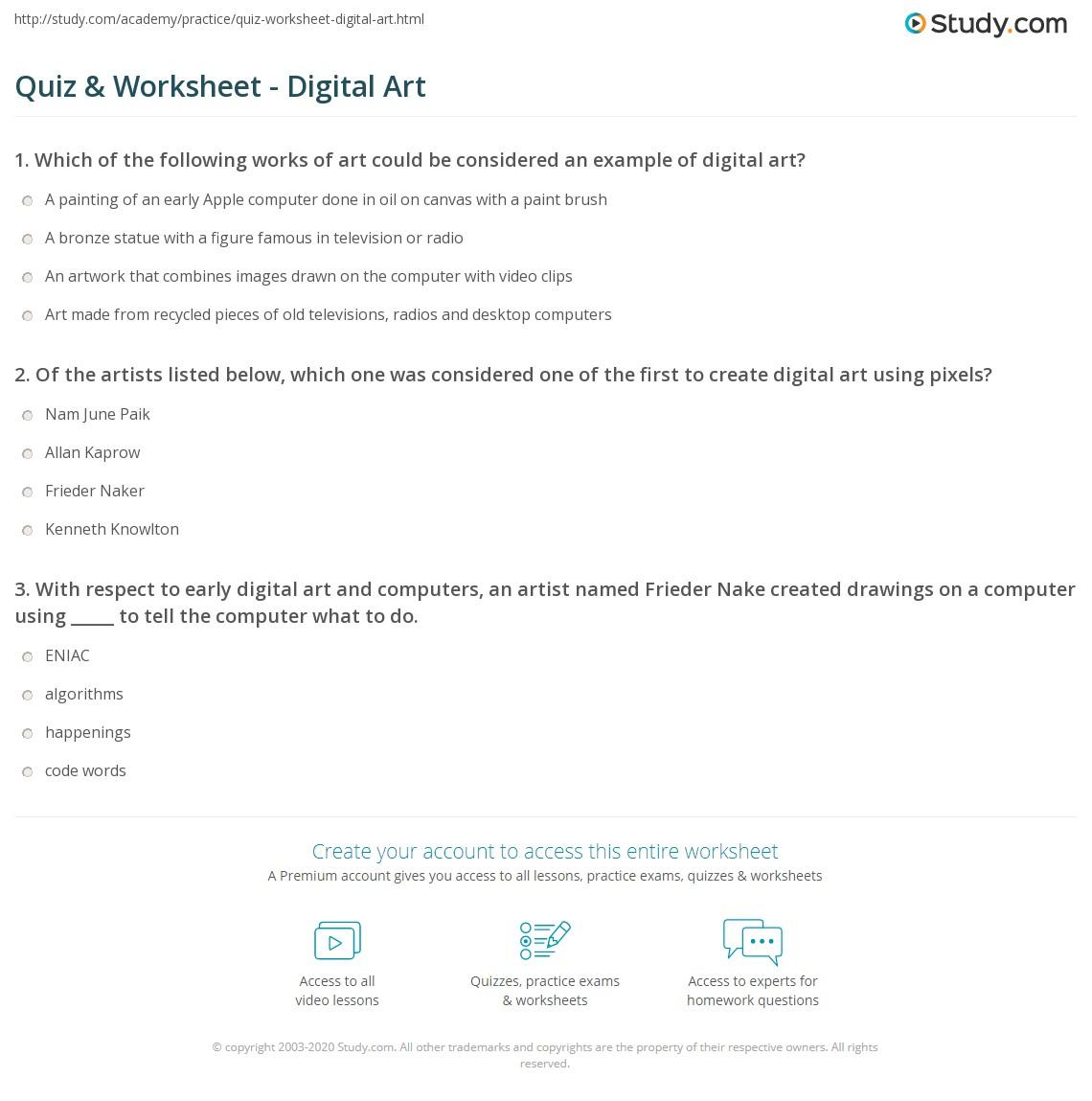 Quiz & Worksheet - Digital Art | Study com