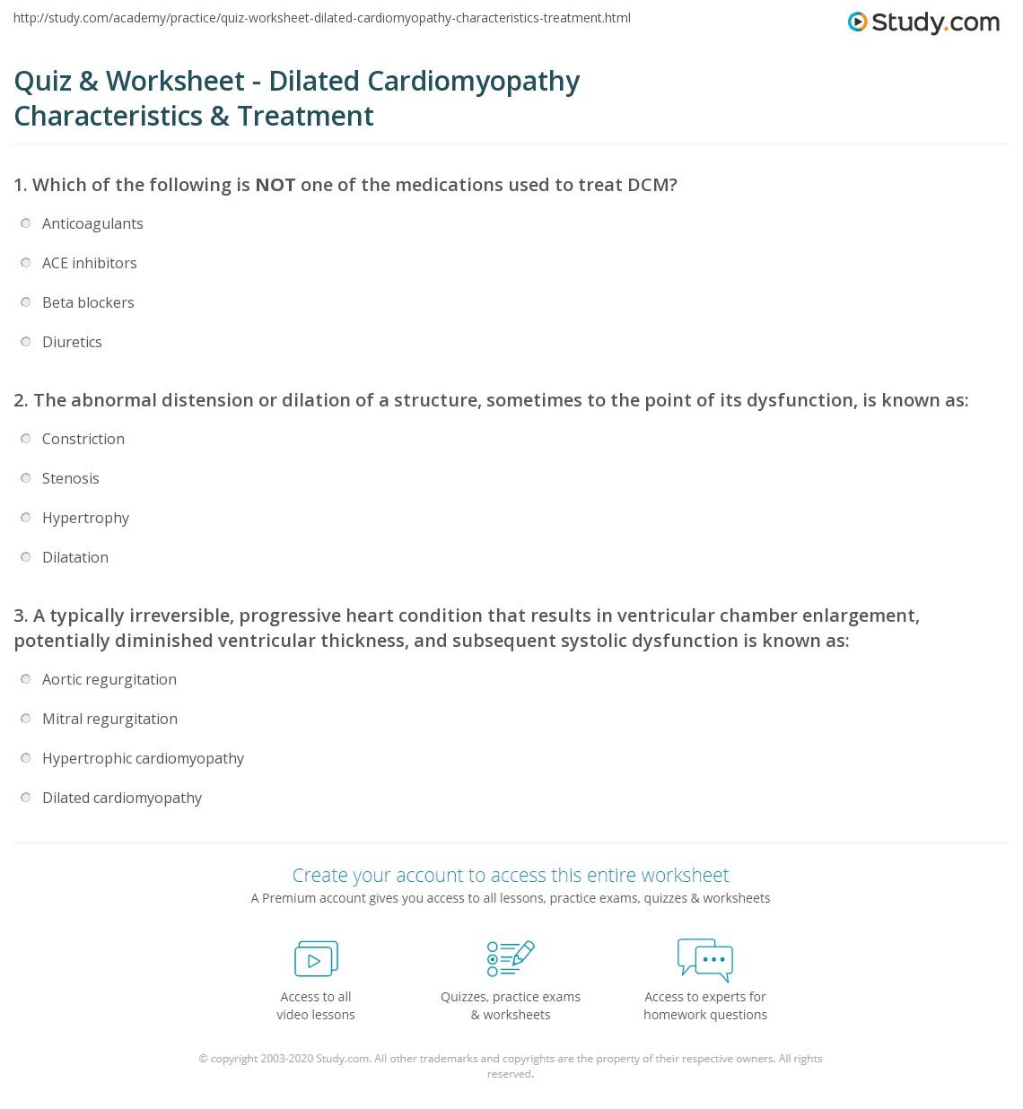 worksheet Dilations Practice Worksheet quiz worksheet dilated cardiomyopathy characteristics print causes symptoms treatment prognosis worksheet
