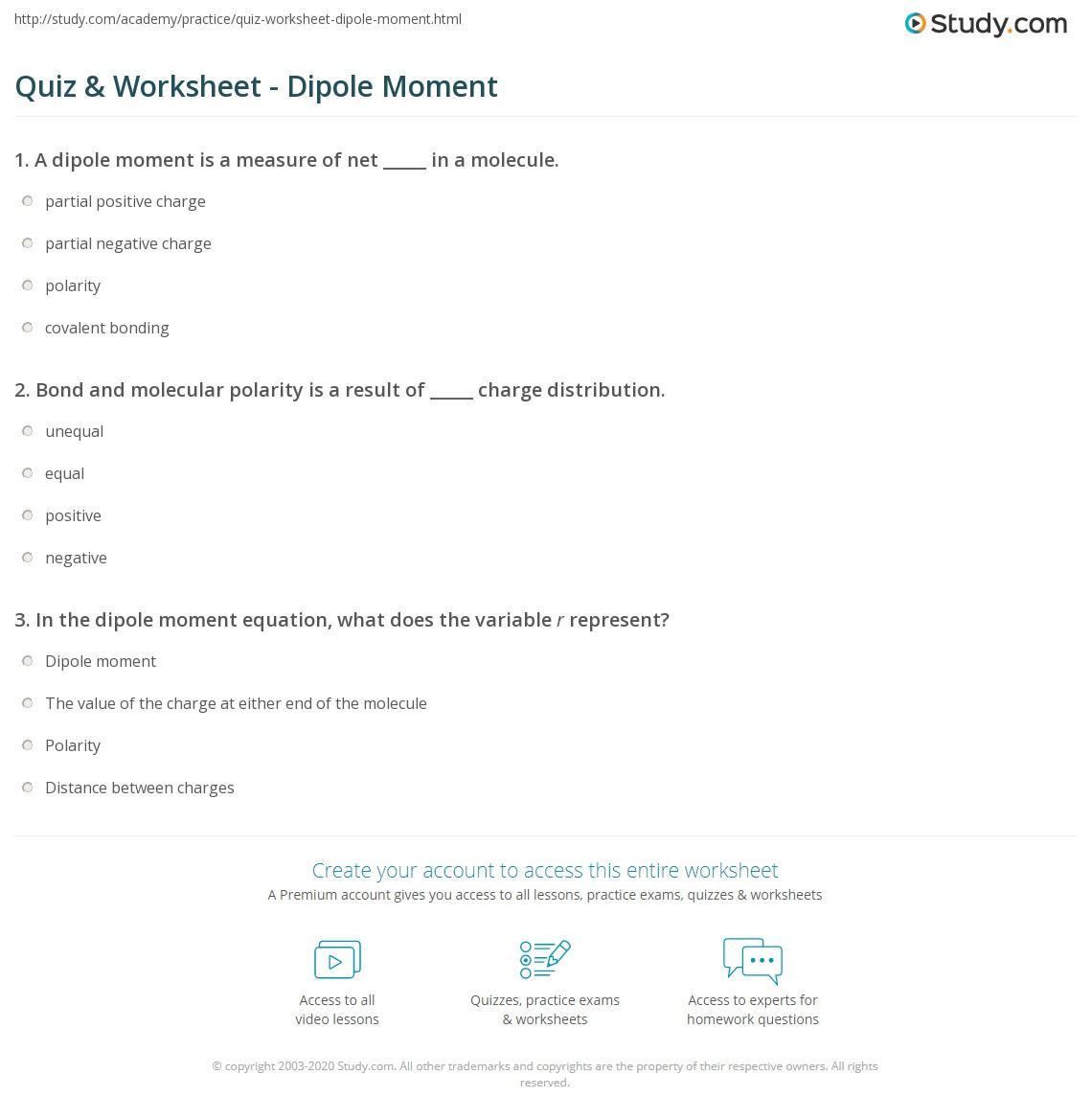 quiz worksheet dipole moment. Black Bedroom Furniture Sets. Home Design Ideas