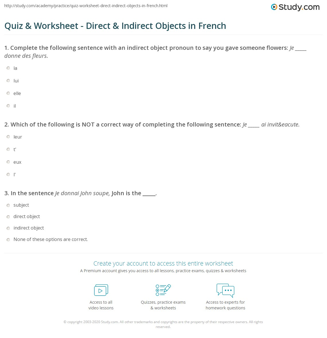 Quiz Worksheet Direct Indirect Objects In French