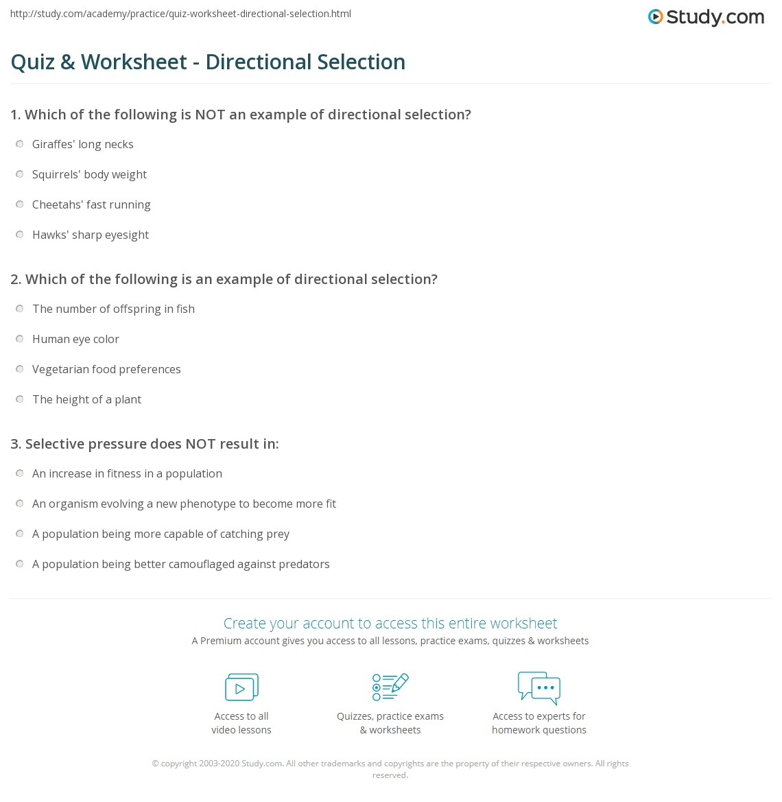 Quiz Worksheet Directional Selection Study