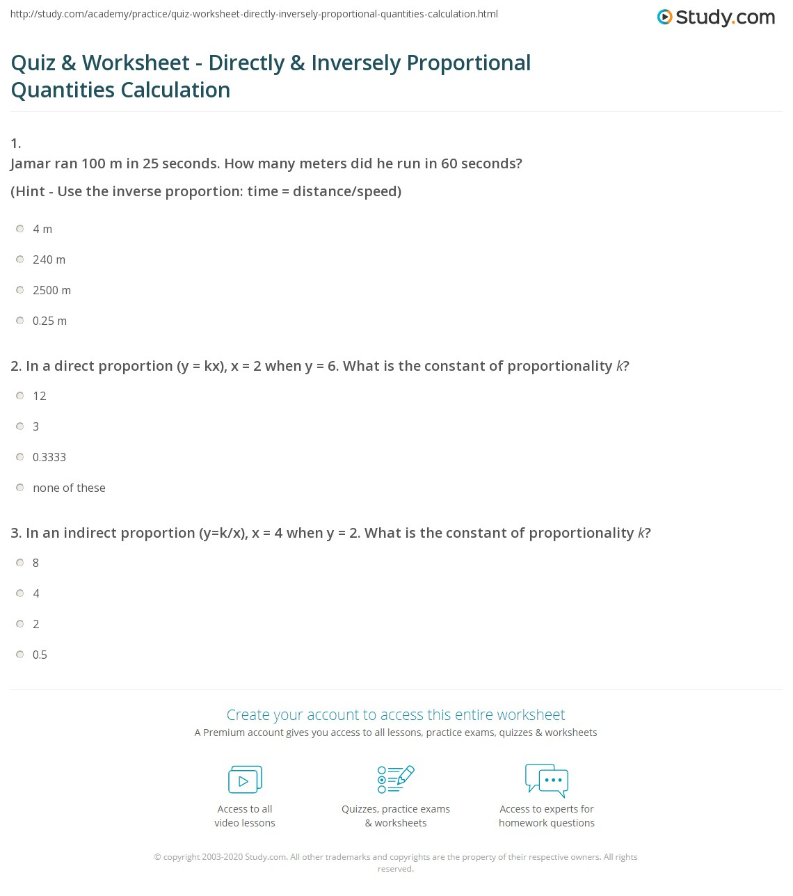 Worksheets Proportion Worksheet quiz worksheet directly inversely proportional quantities print calculating worksheet