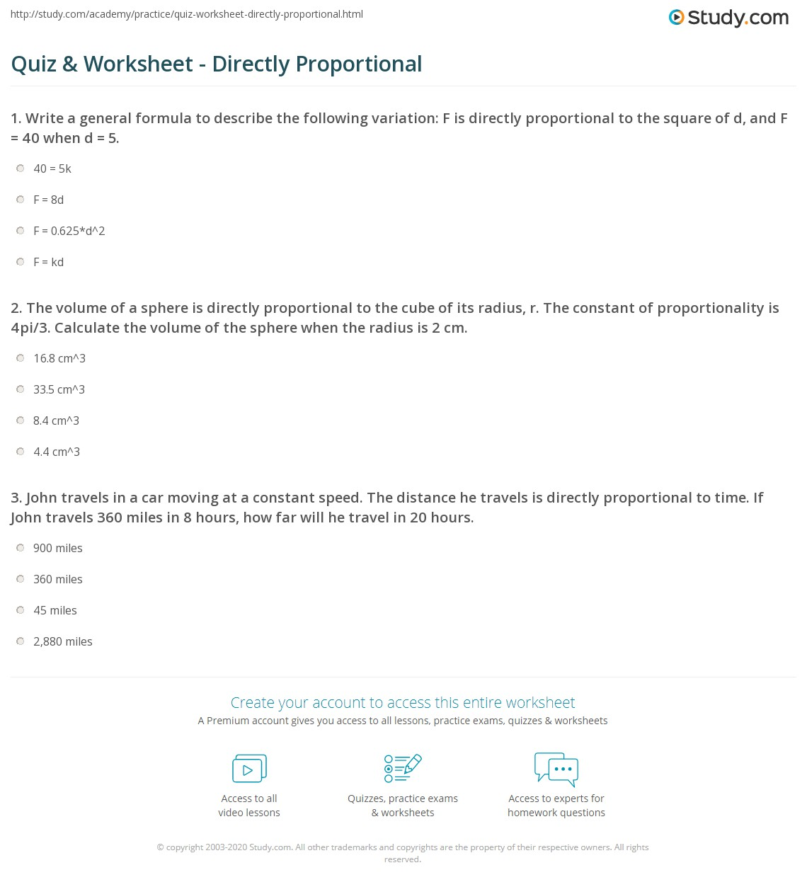 worksheet 8 F 2 Worksheet quiz worksheet directly proportional study com 1 the volume of a sphere is to cube its radius r constant proportionality 4pi3 calculate o