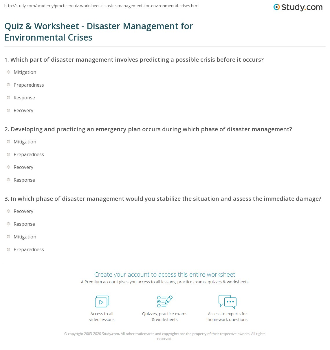 worksheet Emergency Preparedness Worksheet quiz worksheet disaster management for environmental crises print dealing with an crisis worksheet