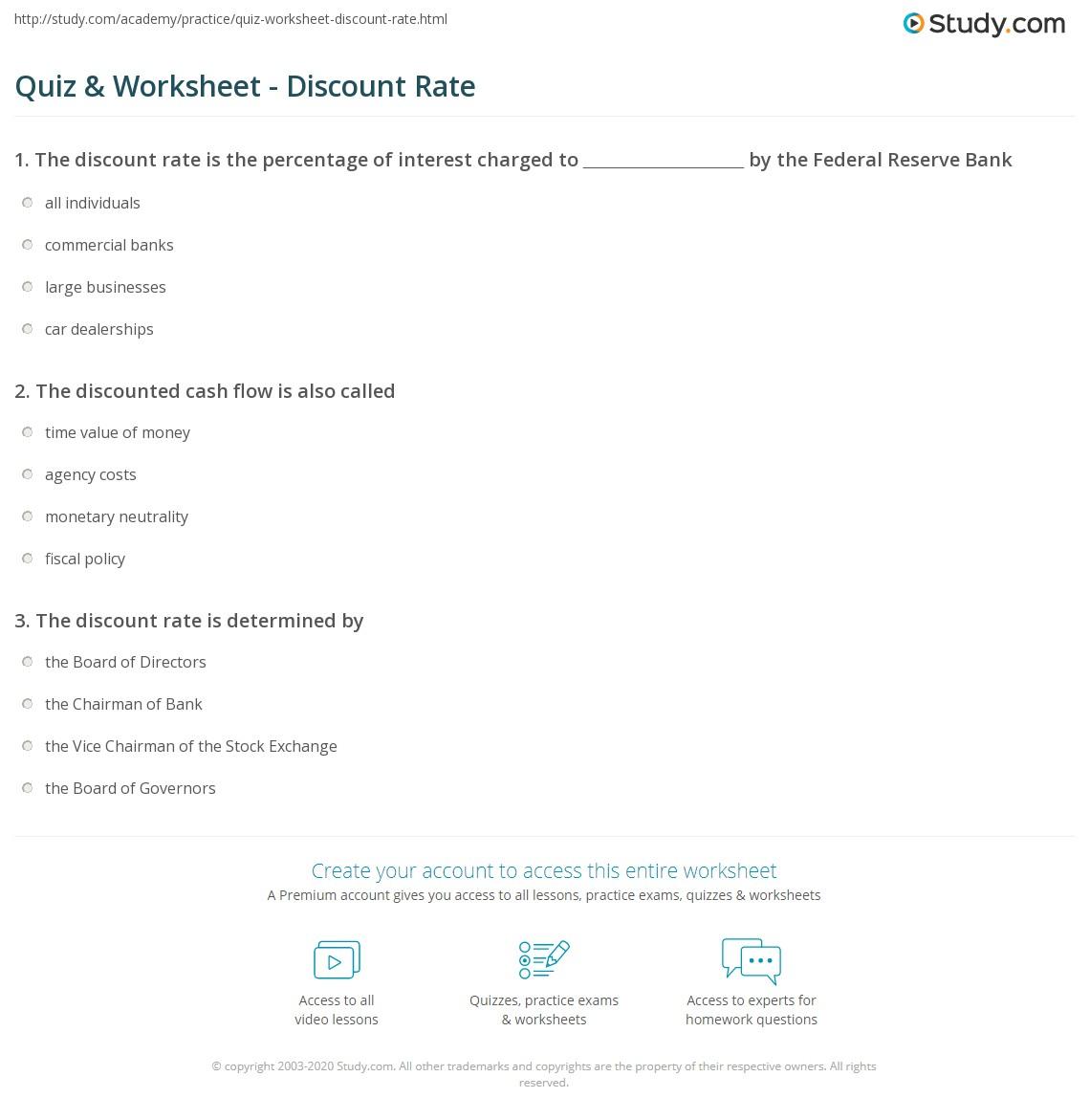 Quiz Worksheet Discount Rate – Discount Worksheets