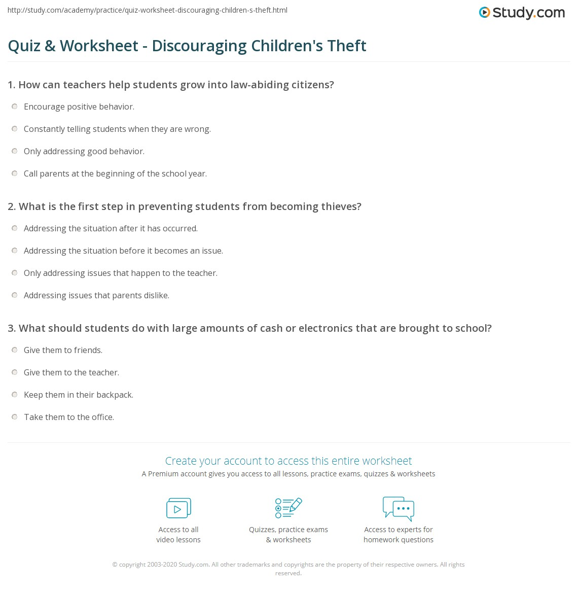 Quiz & Worksheet - Discouraging Children's Theft | Study.com