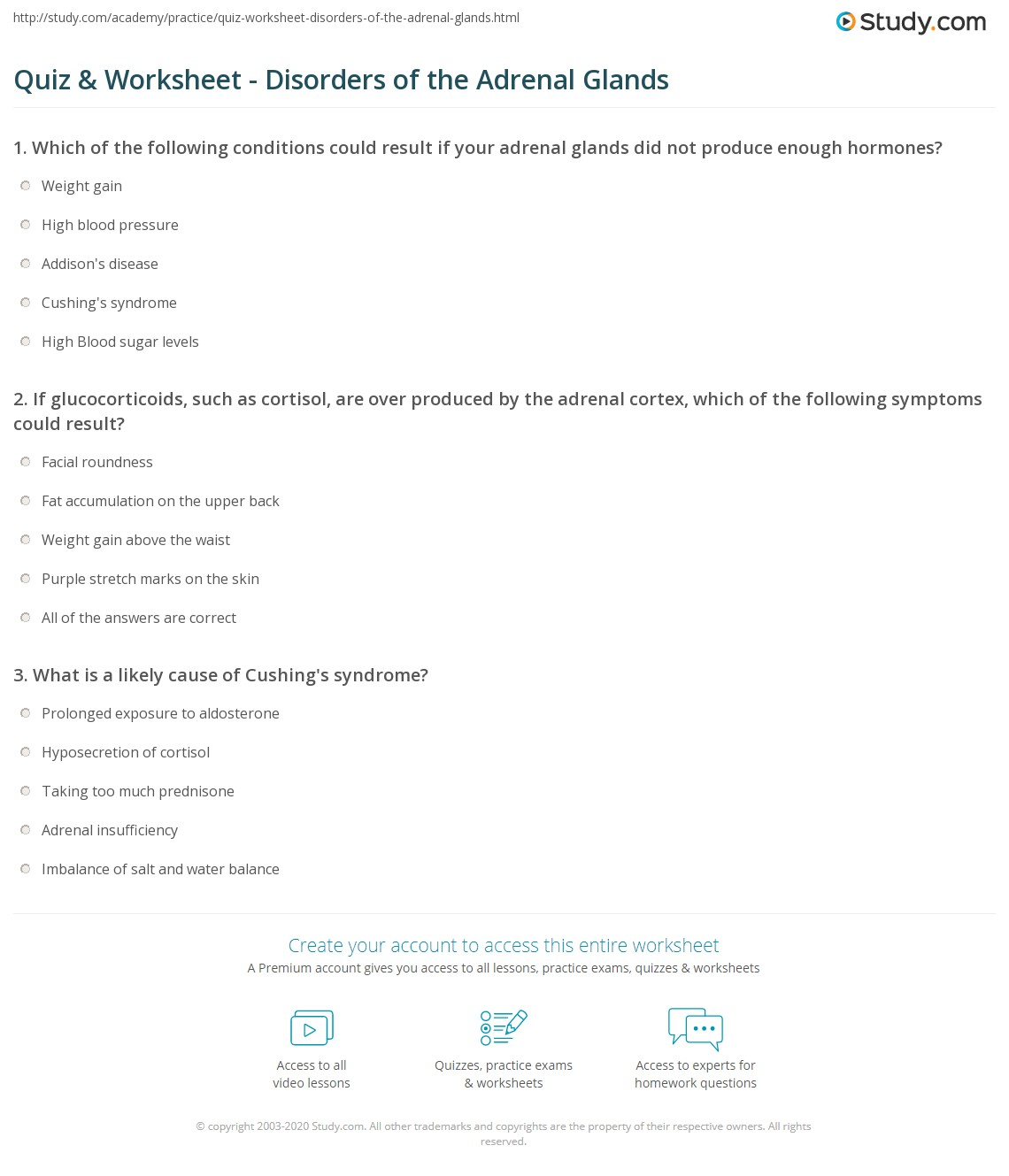 Quiz Worksheet Disorders Of The Adrenal Glands Study