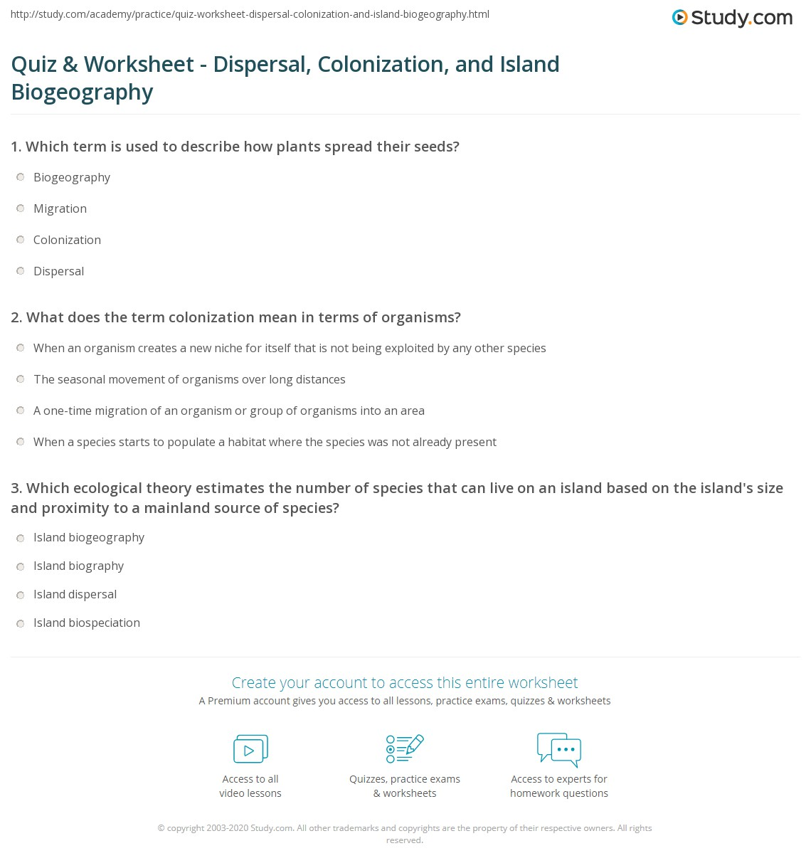 quiz worksheet dispersal colonization and island biogeography. Black Bedroom Furniture Sets. Home Design Ideas