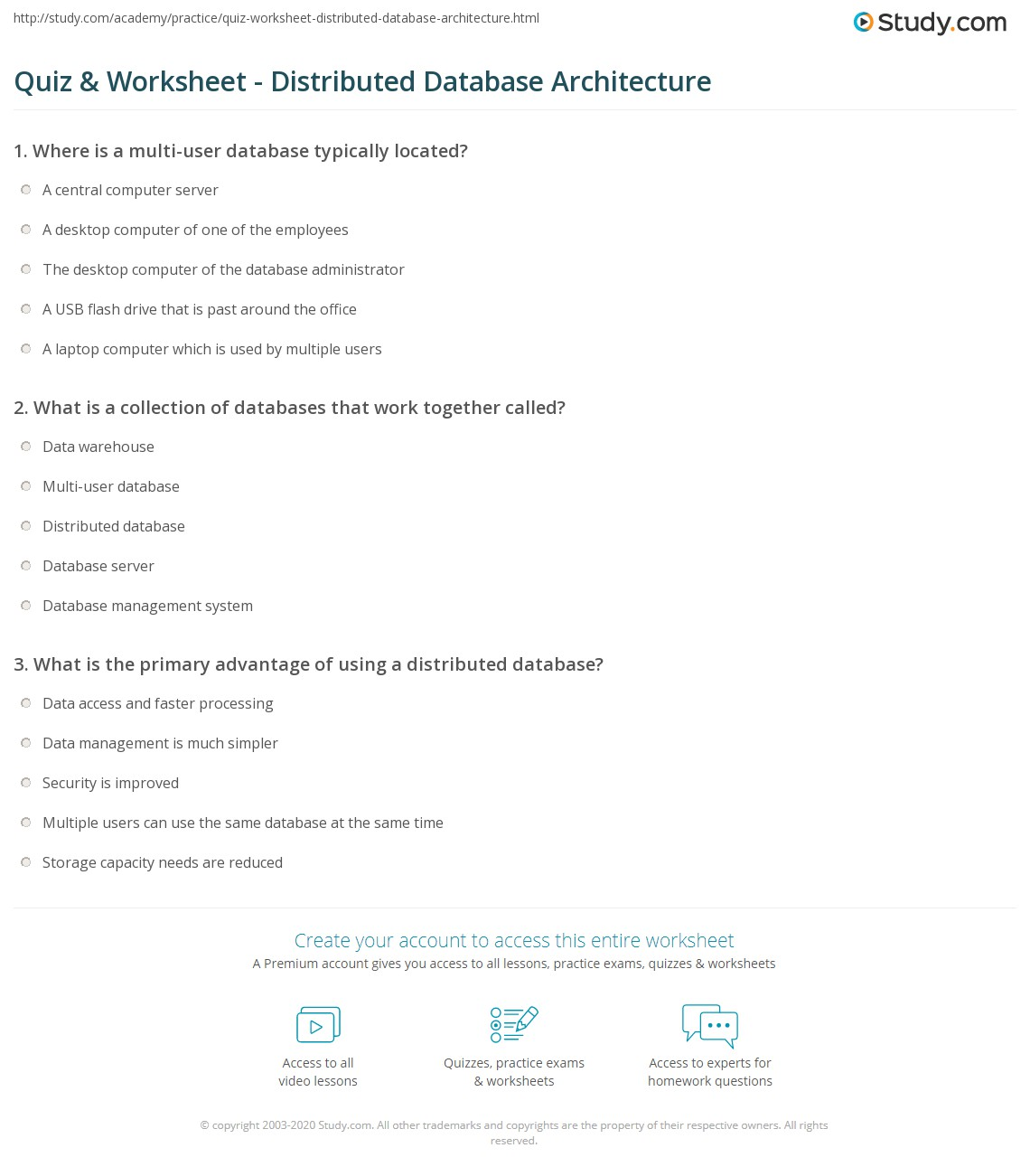 Print What Is A Distributed Database?   Architecture, Principles U0026  Advantages Worksheet