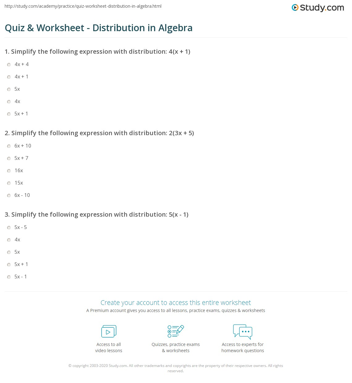 Quiz & Worksheet - Distribution in Algebra | Study.com