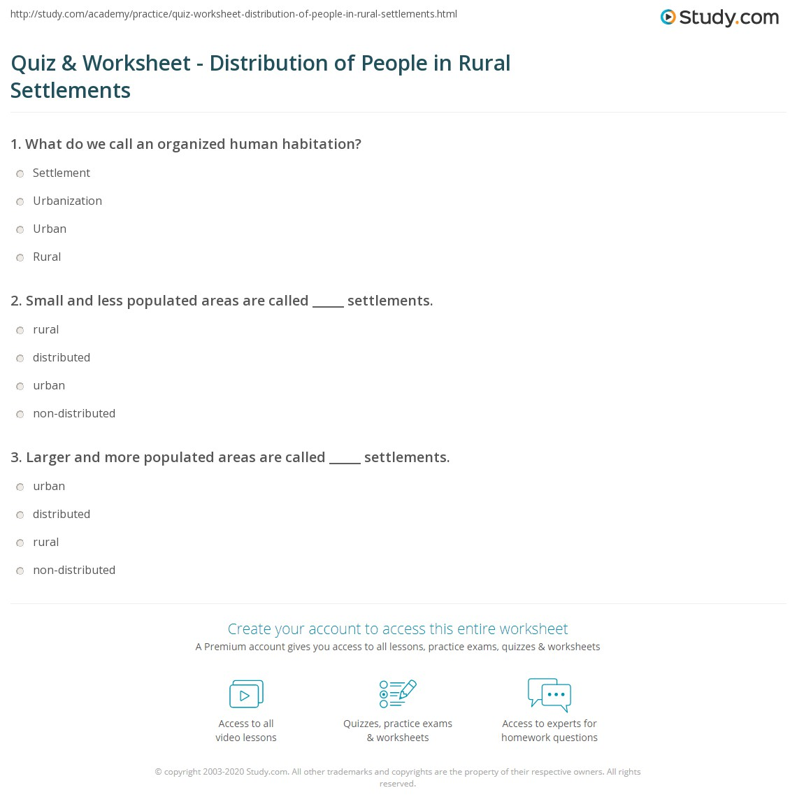 Quiz Worksheet Distribution Of People In Rural Settlements