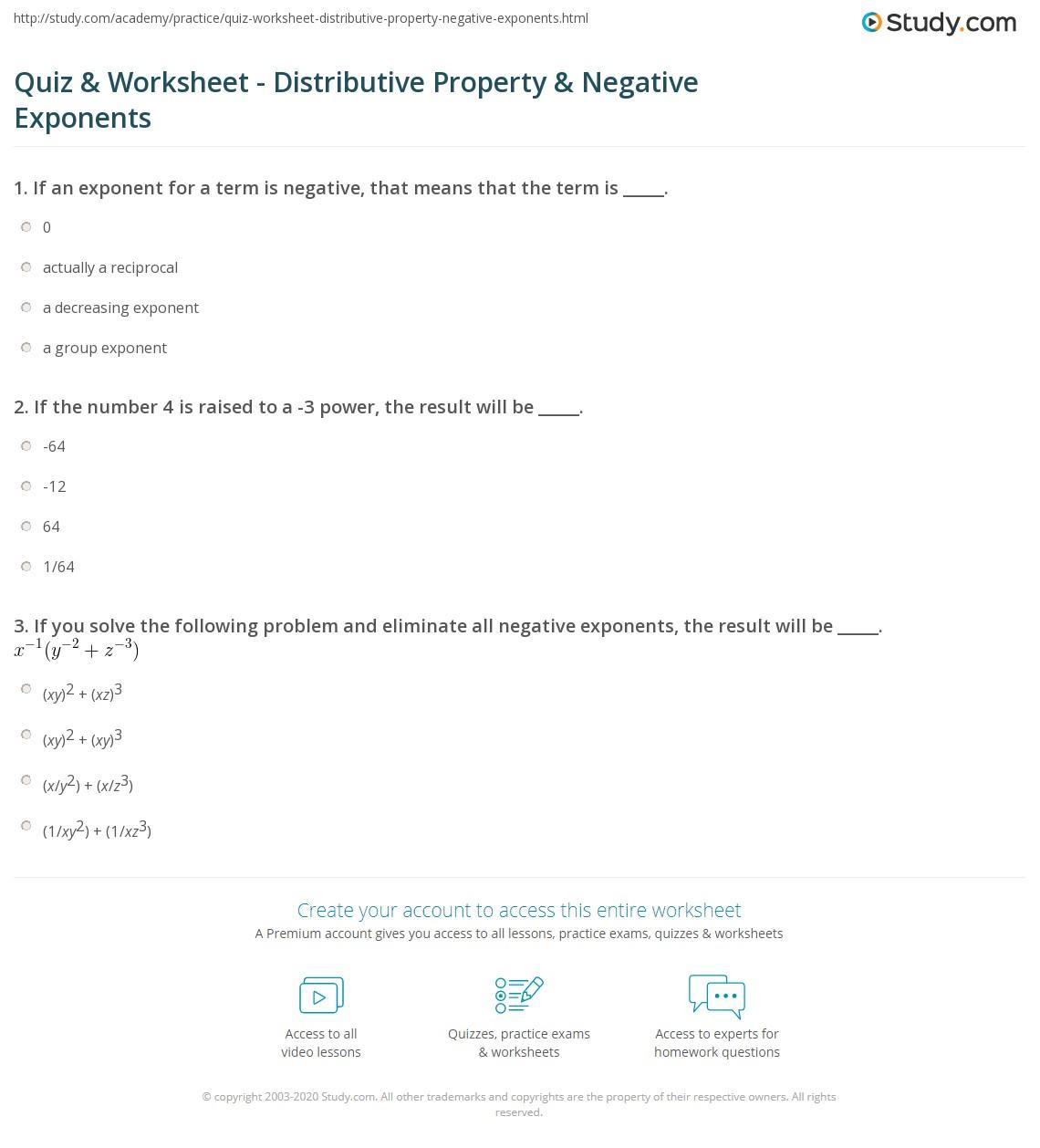 Printables Negative Exponents Worksheet quiz worksheet distributive property negative exponents print the worksheet