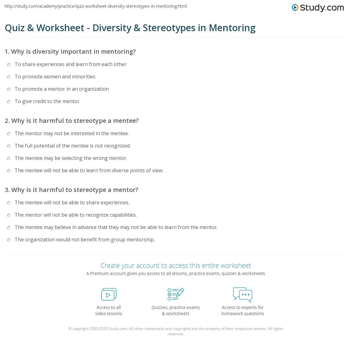 Worksheets Mentoring Worksheets quiz worksheet diversity stereotypes in mentoring study com print the role of impact worksheet