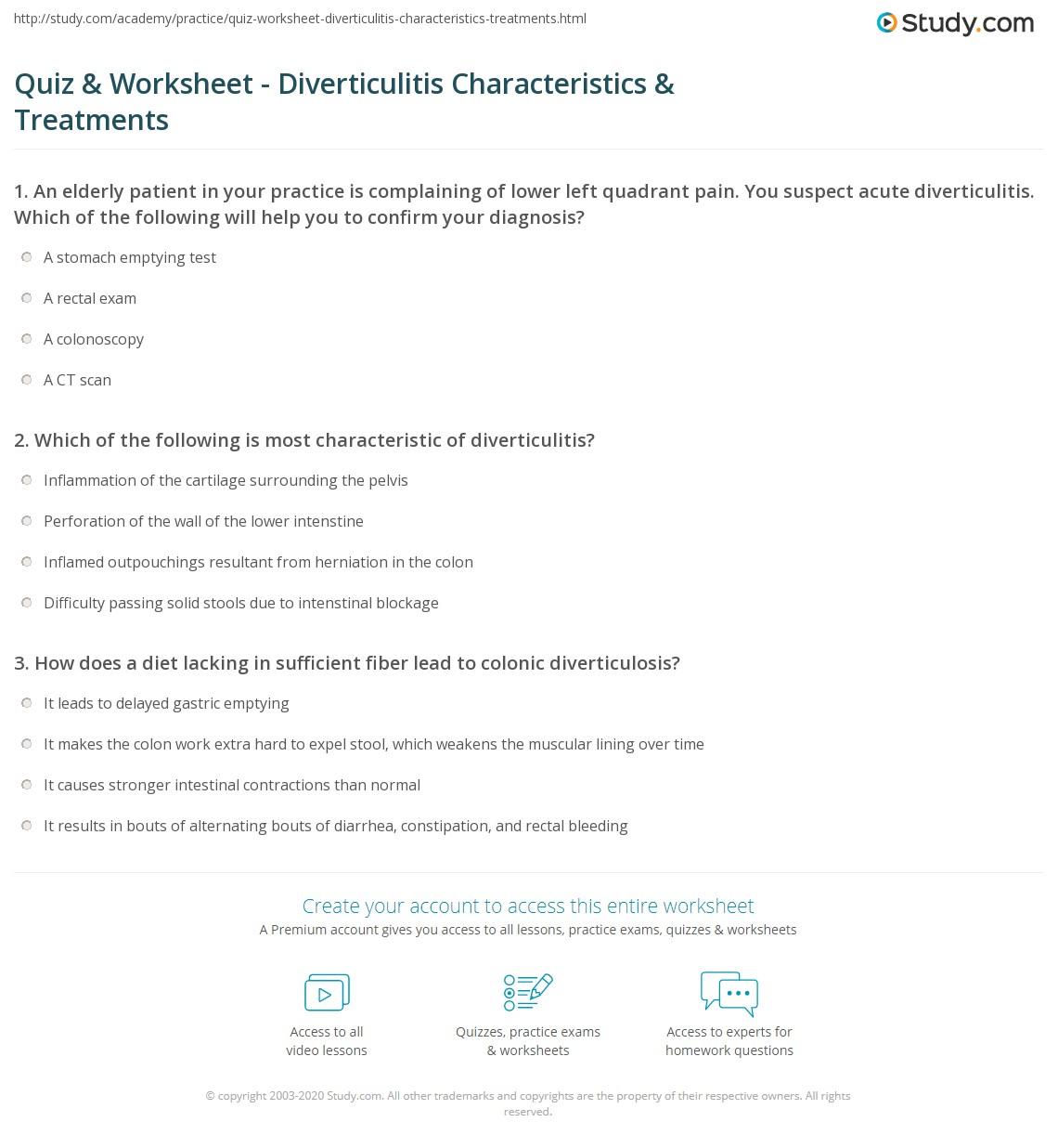 Diverticulitis Characteristics