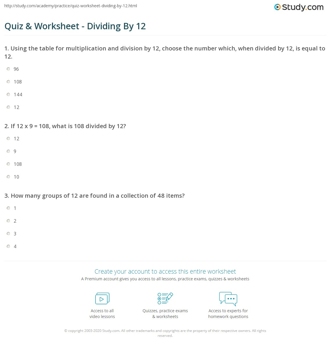 Quiz Worksheet Dividing By 12 Study