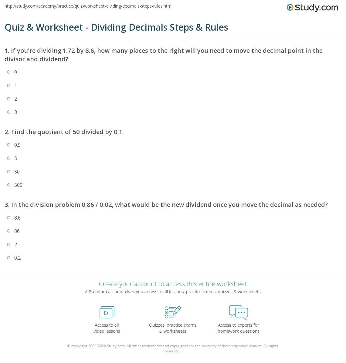 quiz worksheet dividing decimals steps rules. Black Bedroom Furniture Sets. Home Design Ideas