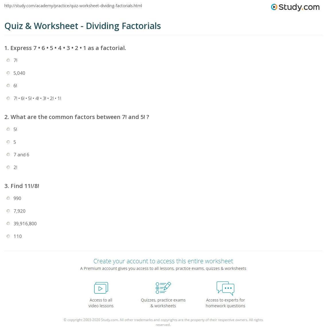 Quiz & Worksheet Dividing Factorials