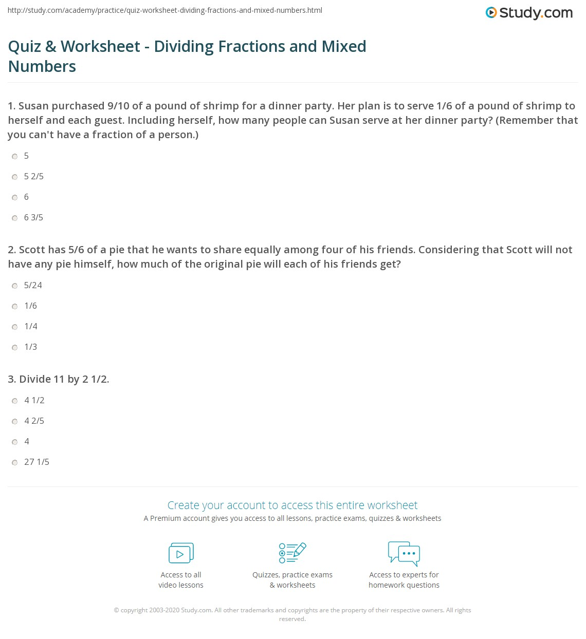 Quiz & Worksheet - Dividing Fractions and Mixed Numbers | Study.com