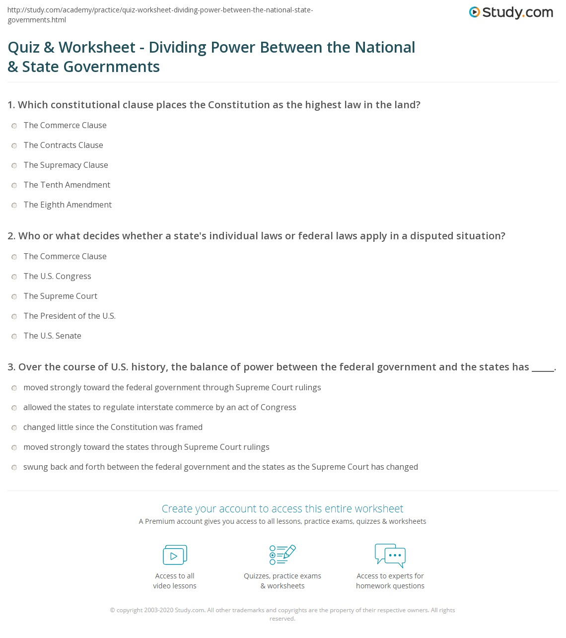Quiz & Worksheet - Dividing Power Between the National & State ...