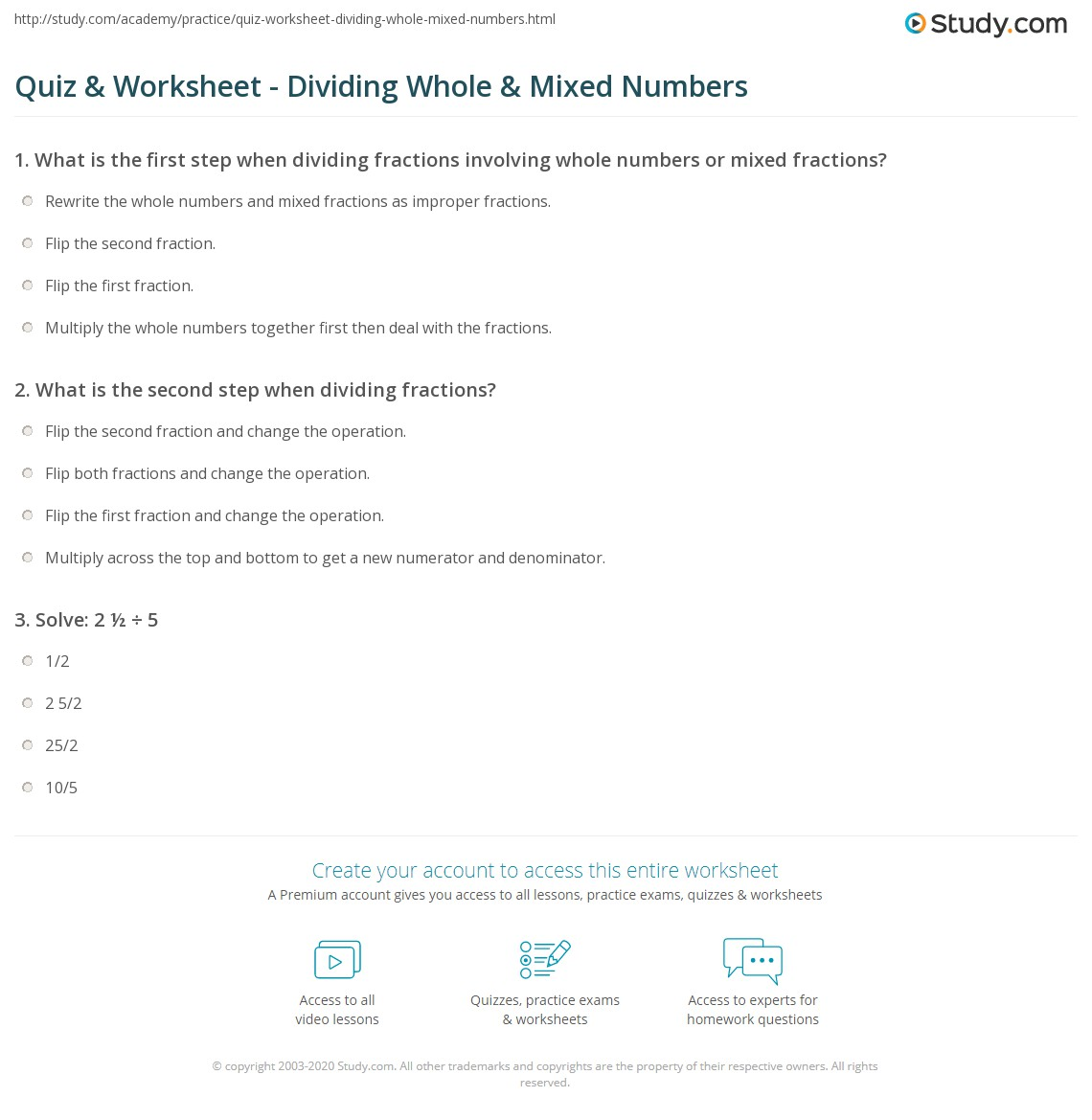 Quiz Worksheet Dividing Whole Mixed Numbers Study