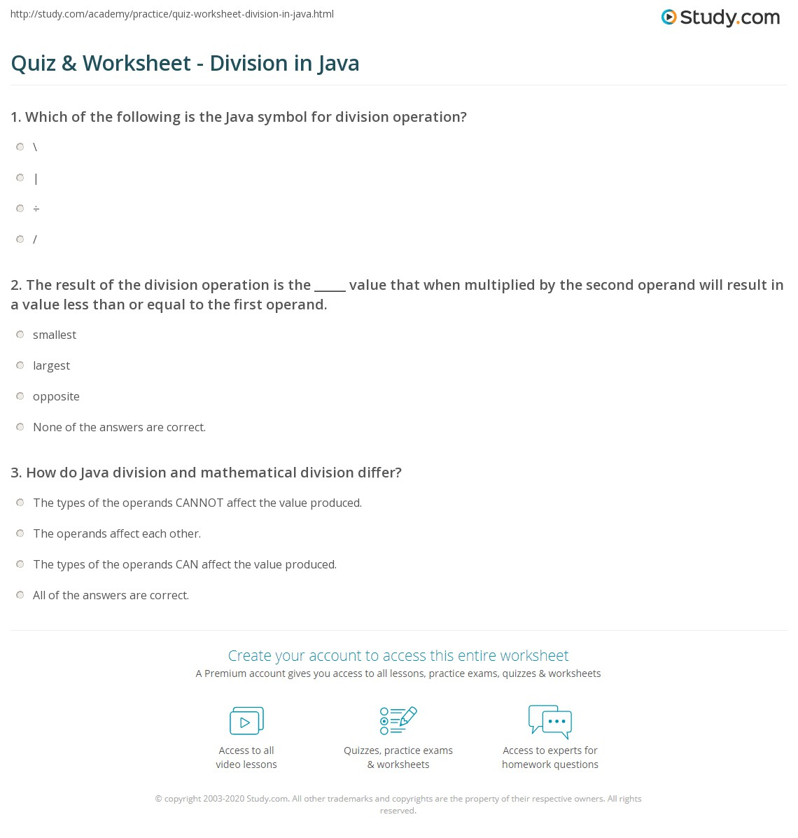 Quiz Worksheet Division In Java Study