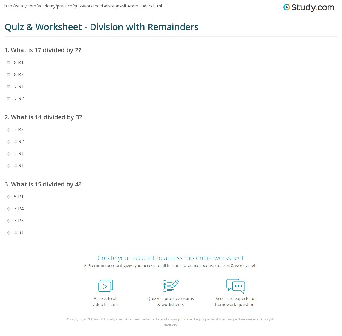 quiz  worksheet  division with remainders  studycom print dividing with a remainder worksheet