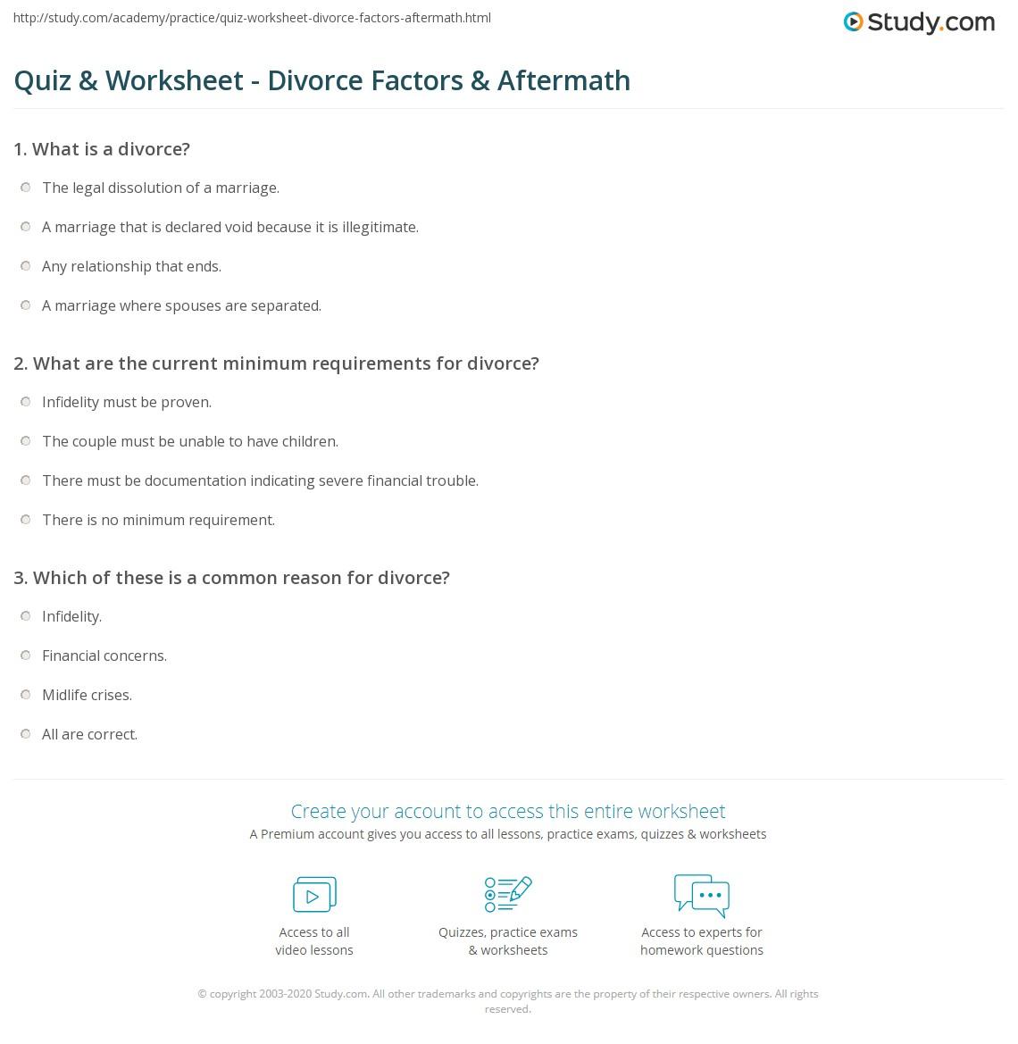 Quiz & Worksheet - Divorce Factors & Aftermath   Study com