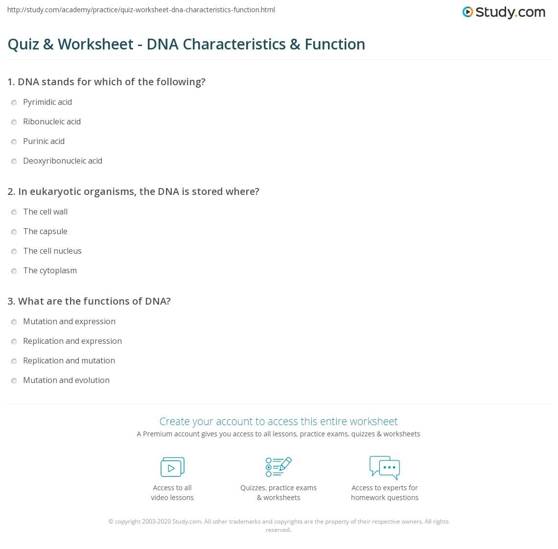 worksheet Dna Worksheets quiz worksheet dna characteristics function study com print what is worksheet