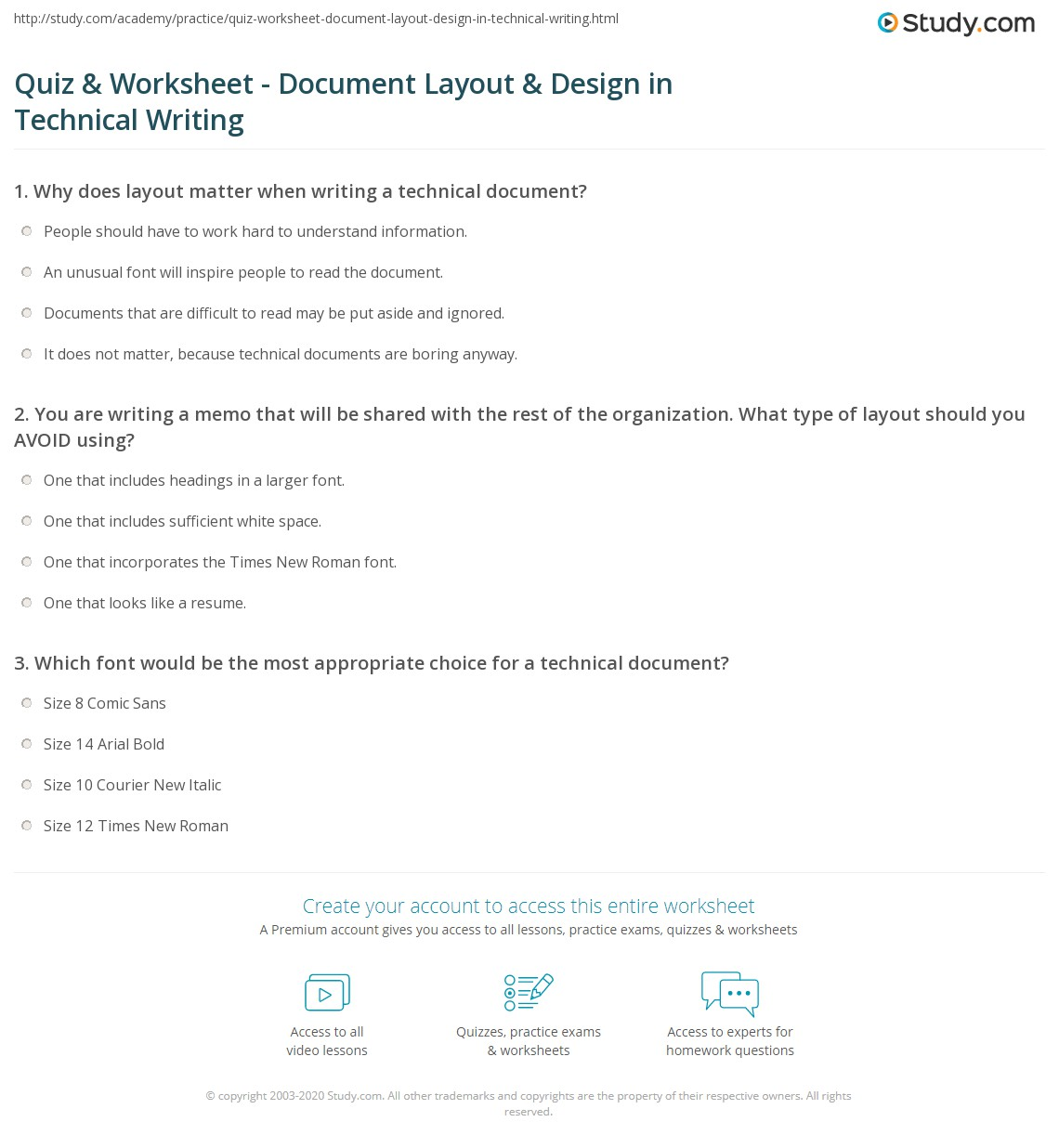 Quiz & Worksheet - Document Layout & Design in Technical Writing ...