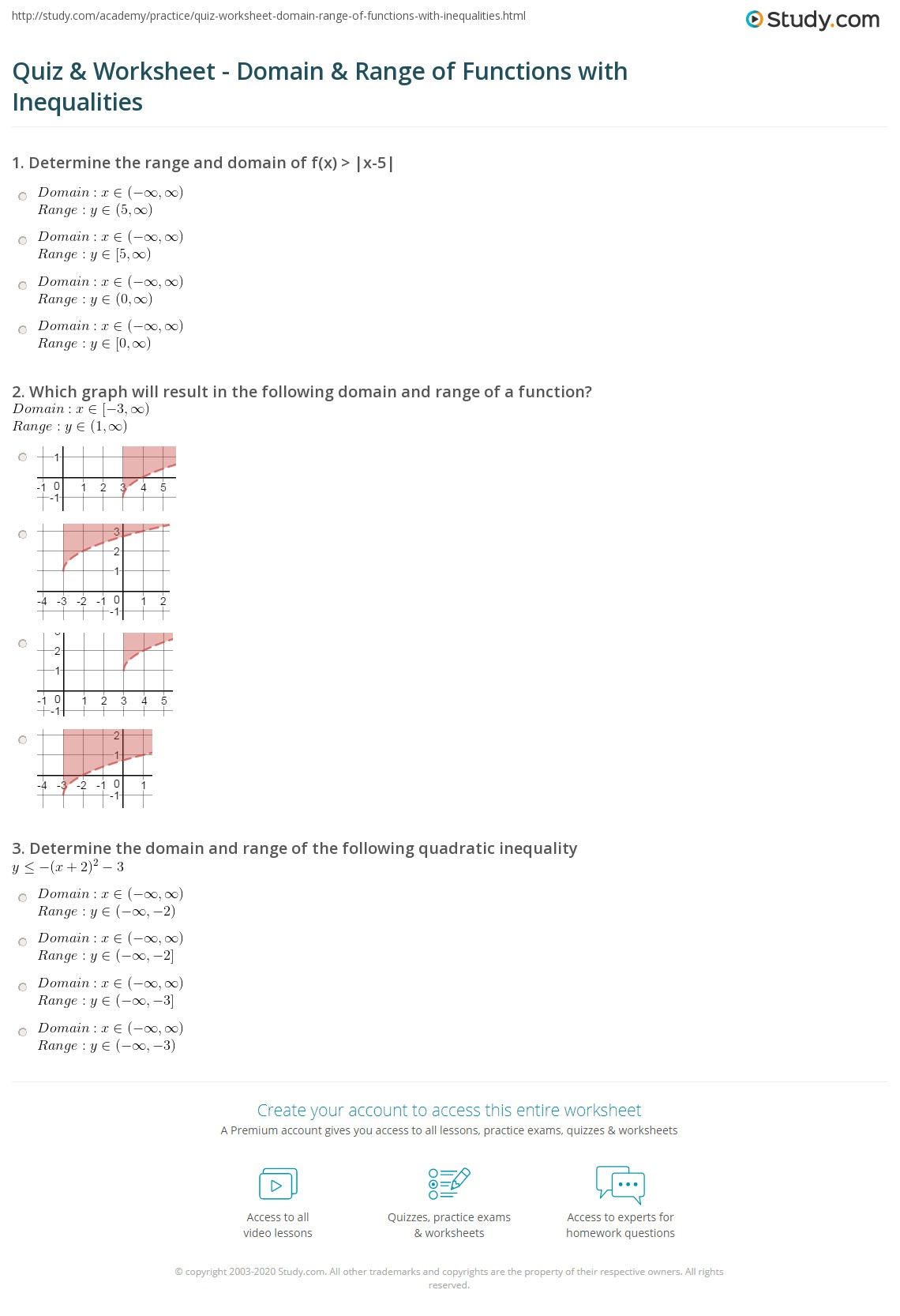 Quiz & Worksheet - Domain & Range of Functions with Inequalities ...