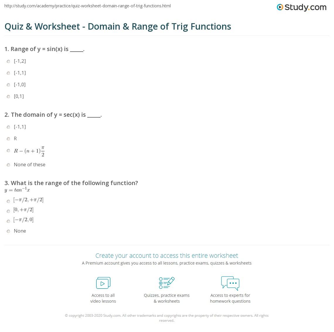 worksheet Domain Range Worksheet quiz worksheet domain range of trig functions study com print trigonometric their inverses worksheet