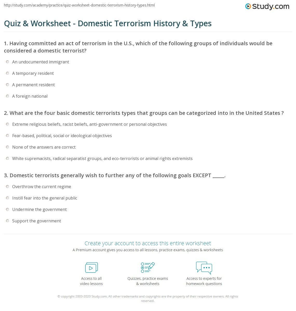 Worksheets Criminal Thinking Worksheets quiz worksheet domestic terrorism history types study com print definition examples worksheet