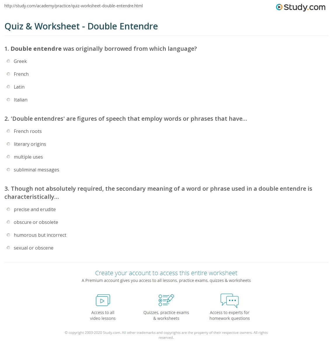 Quiz Worksheet Double Entendre Study