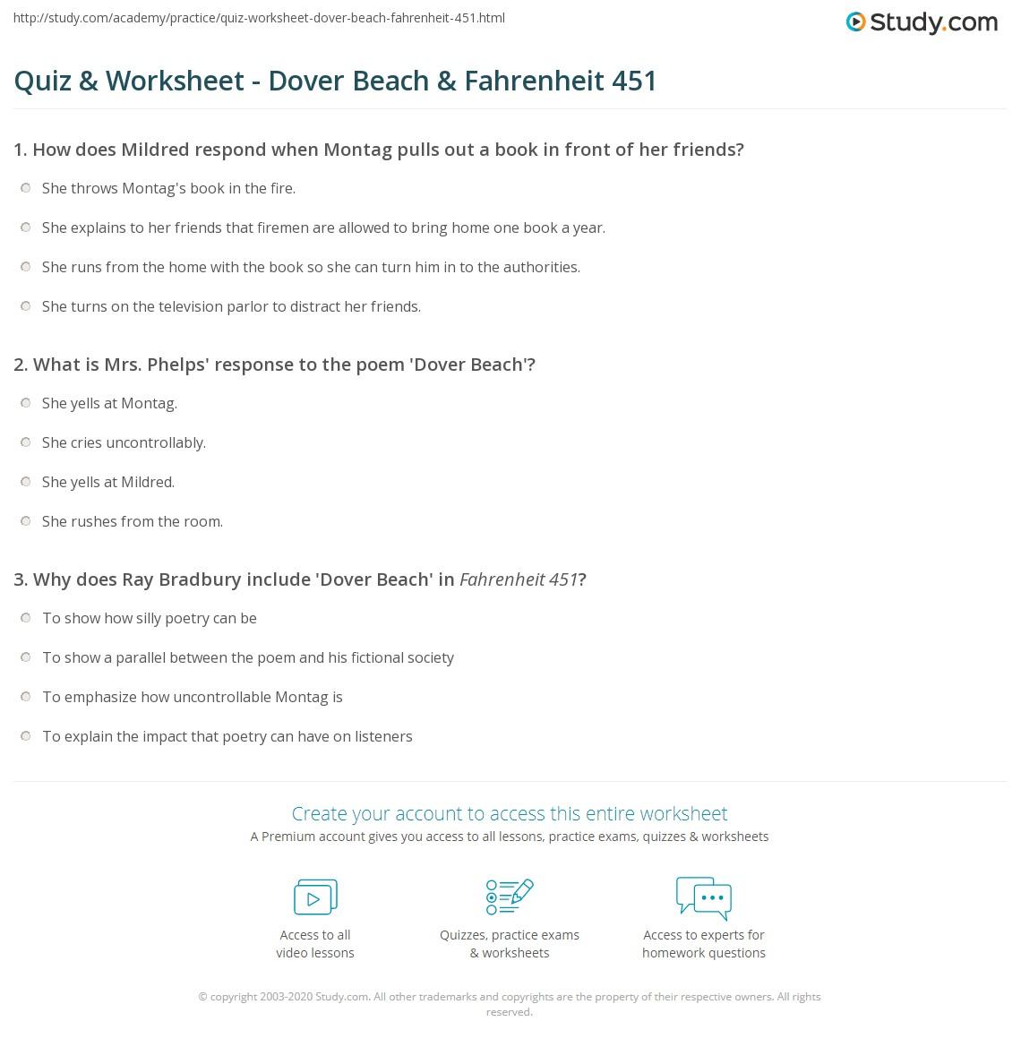 Quiz Worksheet Dover Beach Fahrenheit 451 Study