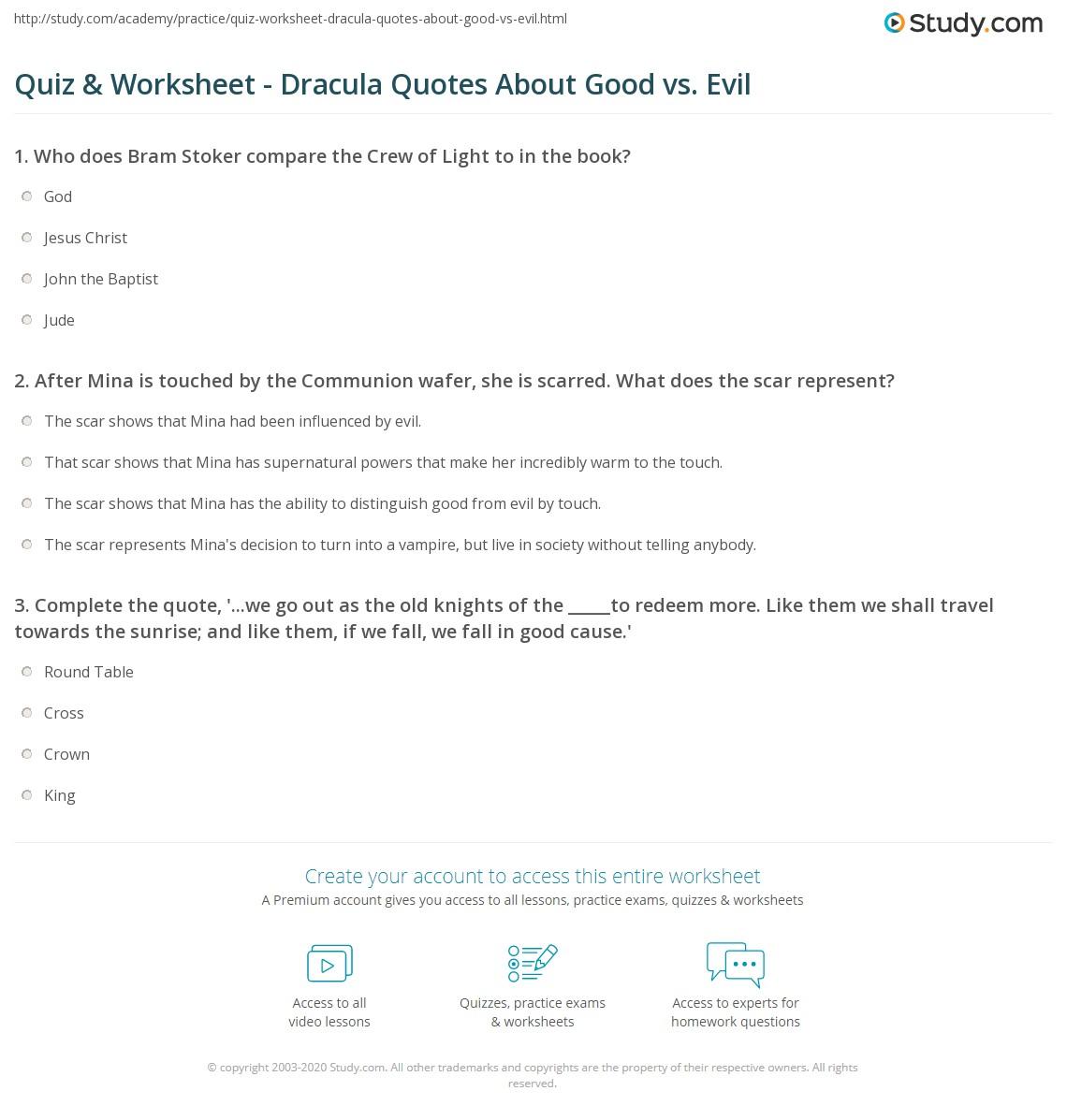 Quiz Worksheet Dracula Quotes About Good Vs Evil Studycom