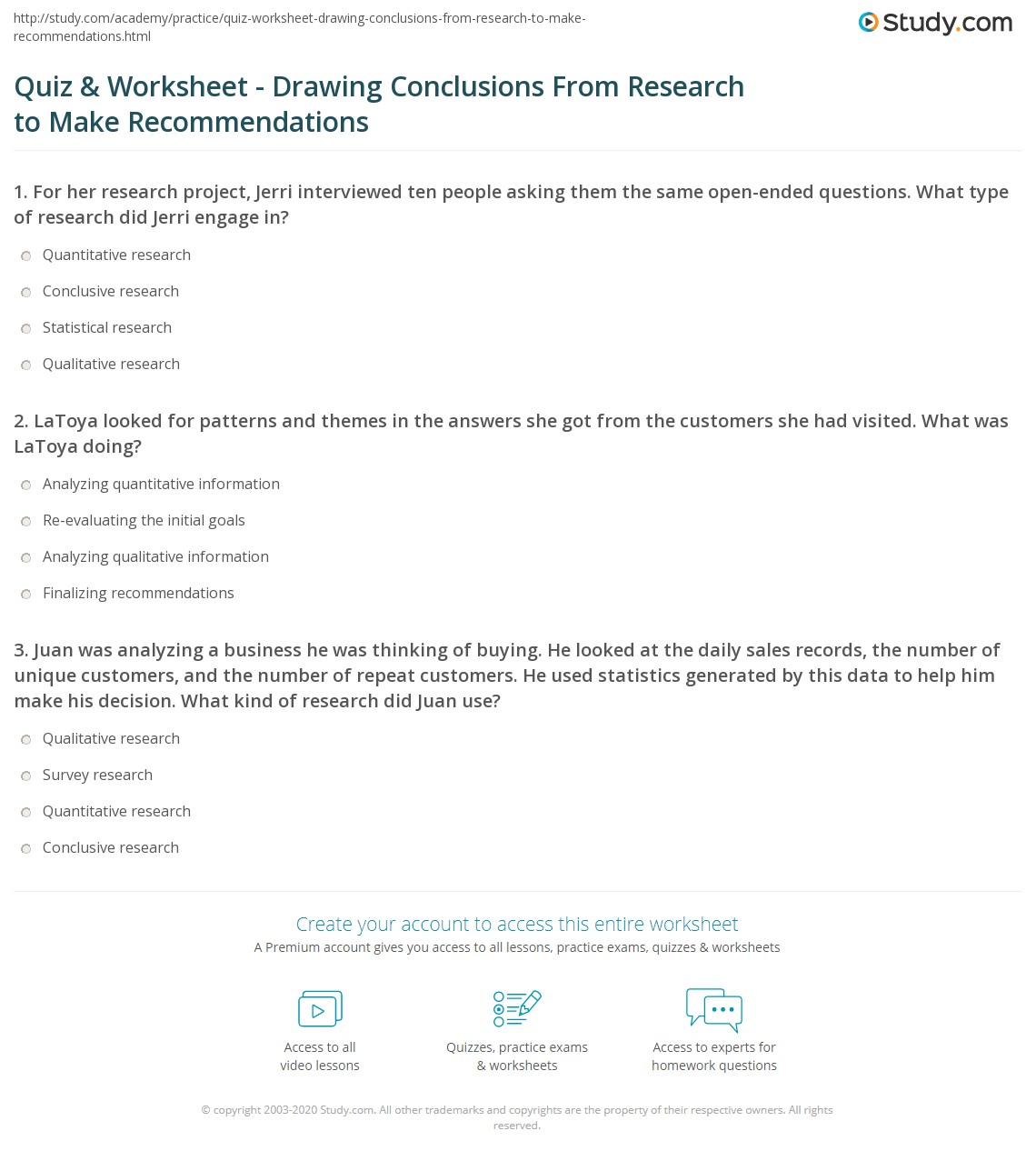 quiz & worksheet - drawing conclusions from research to make