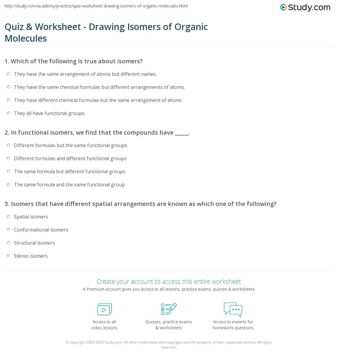 Quiz Worksheet Drawing Isomers Of Organic Molecules Study