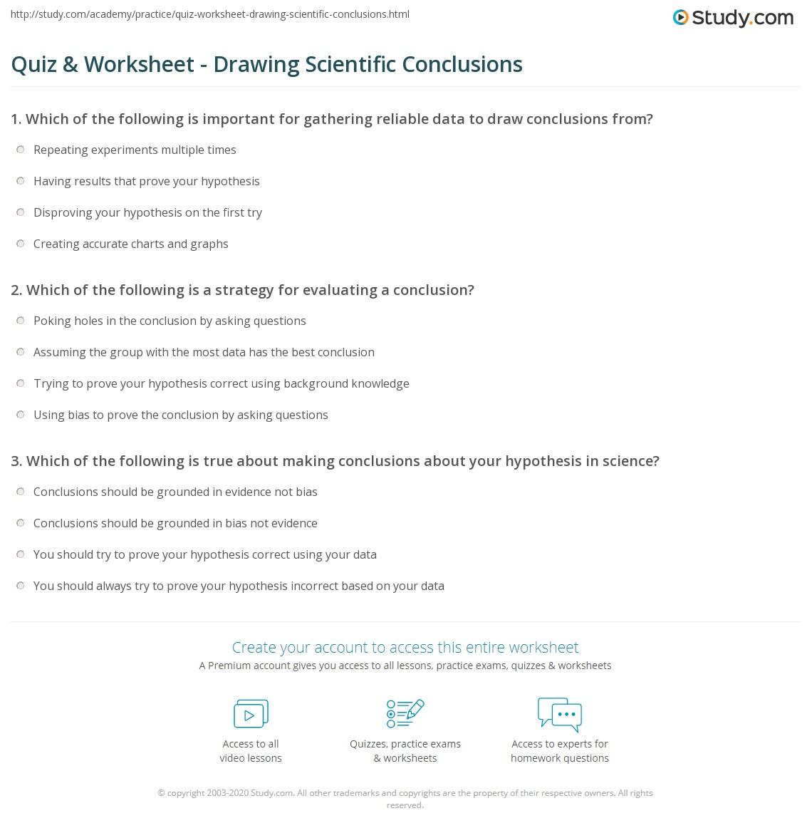 Quiz & Worksheet - Drawing Scientific Conclusions | Study.com