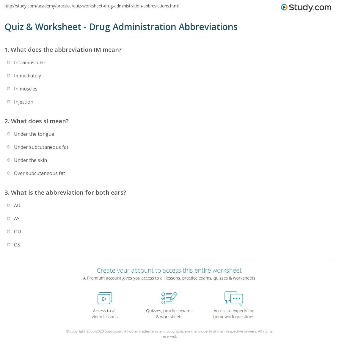 Quiz Worksheet Drug Administration Abbreviations Study