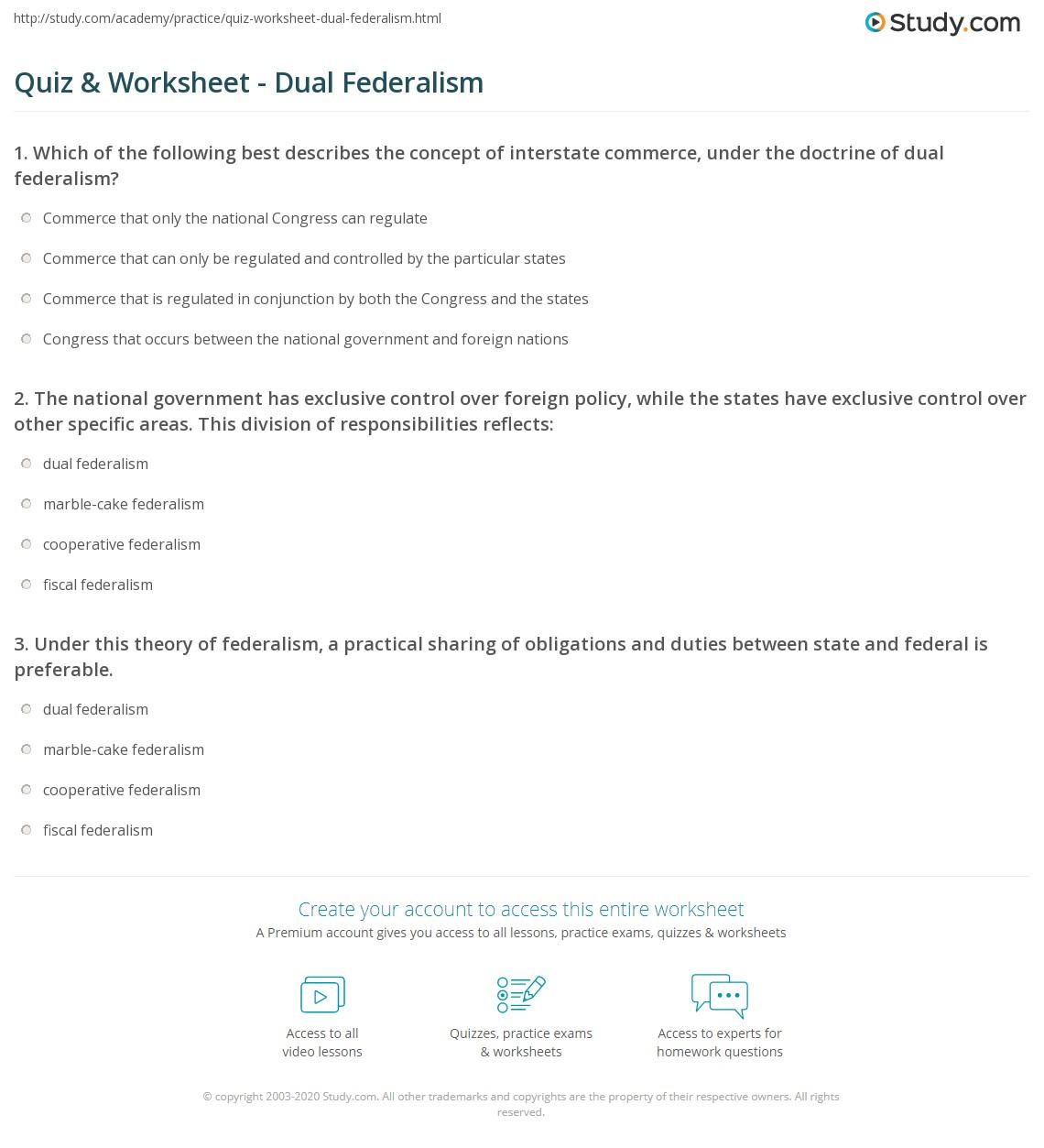 worksheet Fiscal Federalism Worksheet quiz worksheet dual federalism study com print what is definition examples worksheet