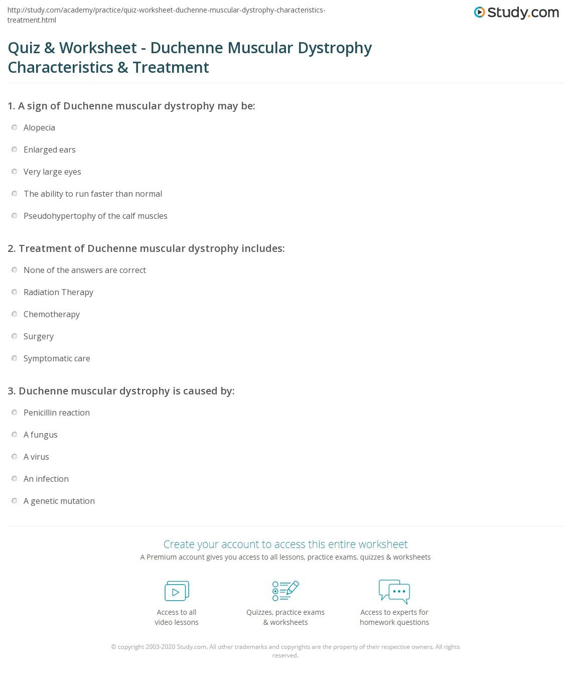 quiz & worksheet - duchenne muscular dystrophy characteristics