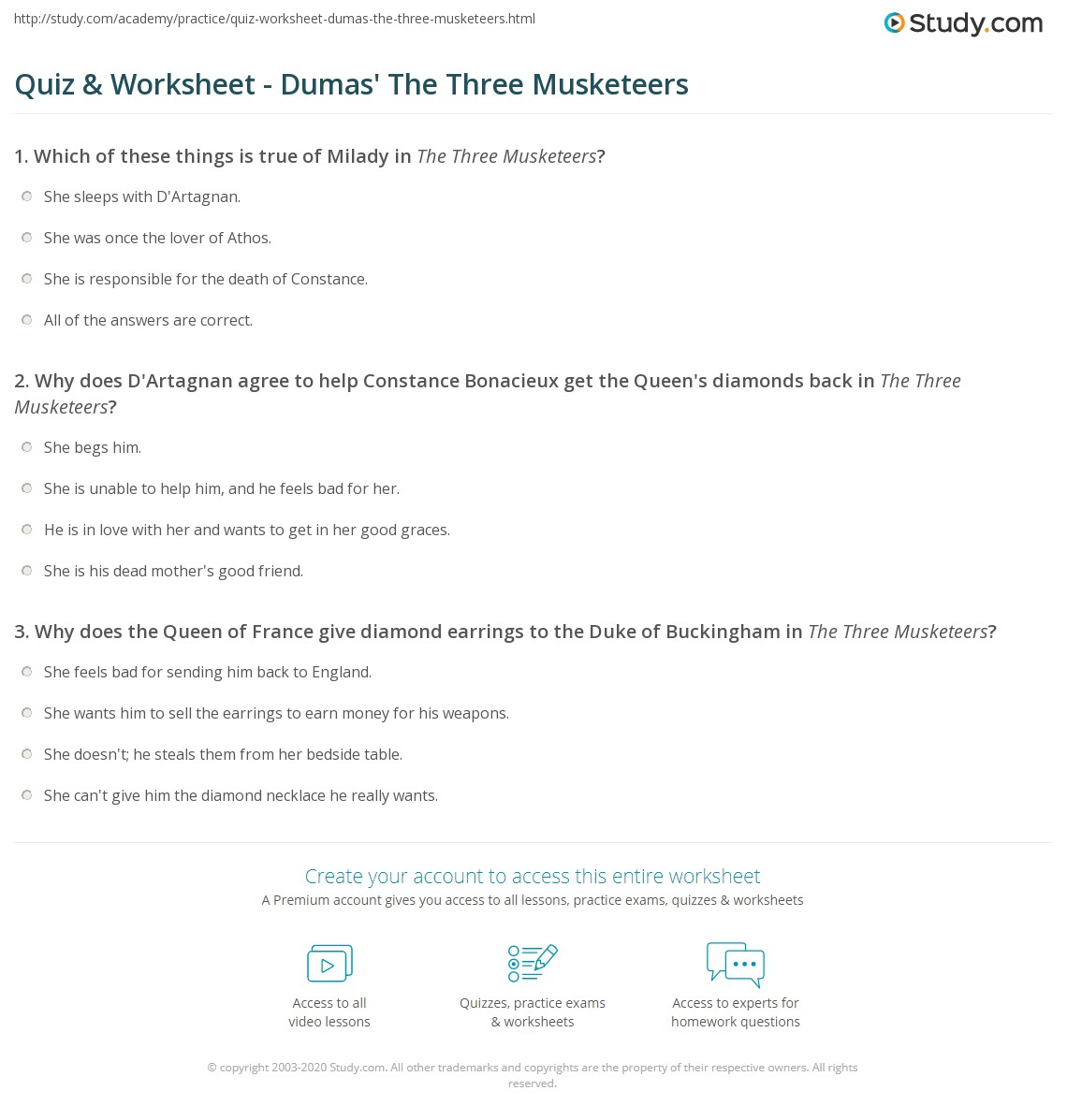 Quiz Worksheet Dumas The Three Musketeers Study Com
