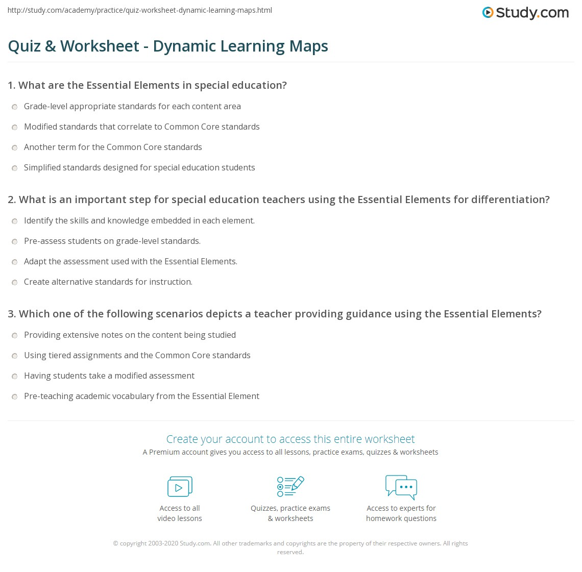quiz  worksheet  dynamic learning maps  studycom - print essential elements of general curriculum for special educationworksheet