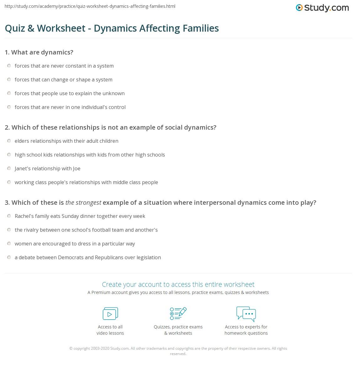 Quiz & Worksheet - Dynamics Affecting Families   Study.com