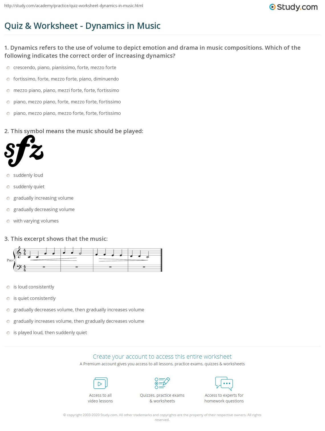Quiz worksheet dynamics in music study print dynamics in music piano forte and why they are important worksheet buycottarizona Choice Image