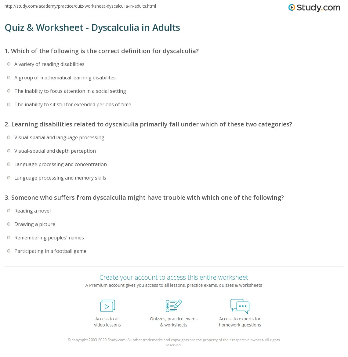 in adults Dyscalculia