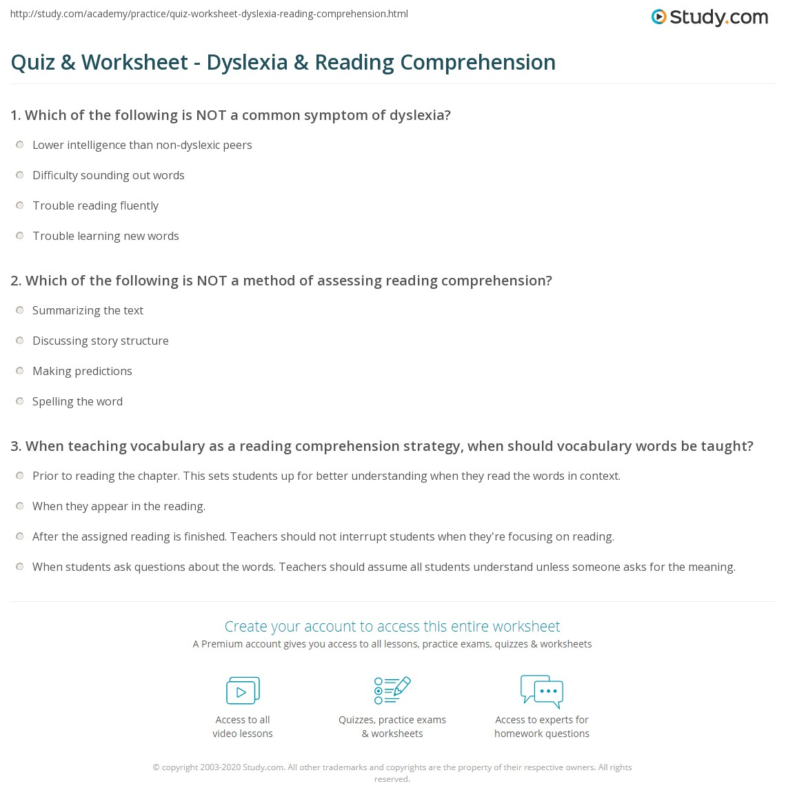 Quiz & Worksheet - Dyslexia & Reading Comprehension | Study.com