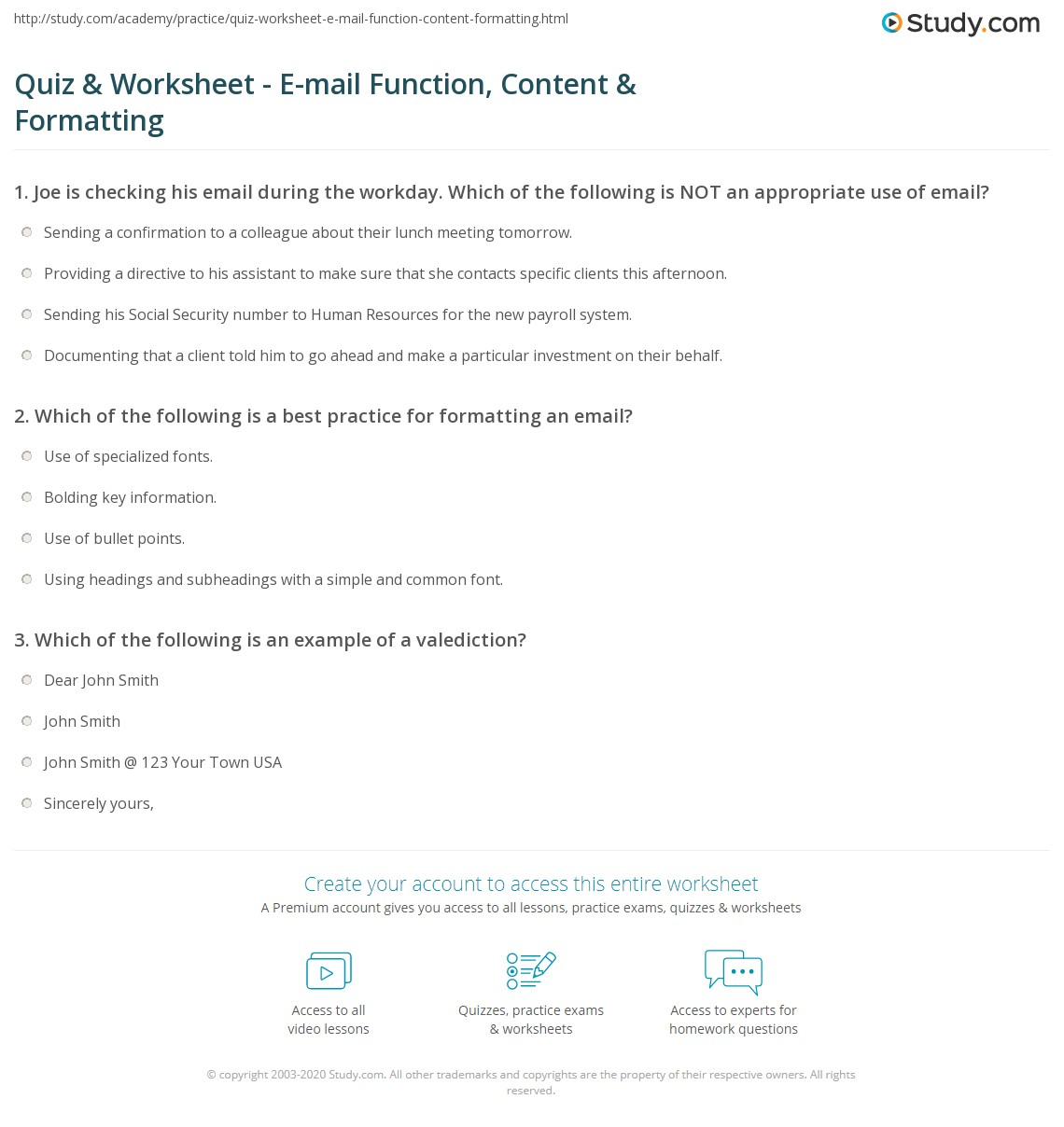 quiz worksheet e mail function content formatting com print purpose content structure of emails worksheet