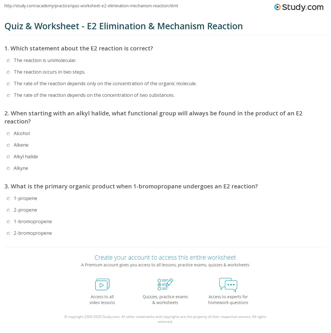 Quiz Worksheet E2 Elimination Mechanism Reaction – Functional Group Worksheet